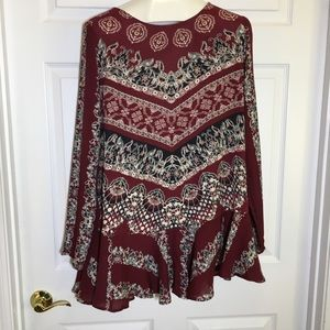 Free People Smooth Talker Red Combo Tunic